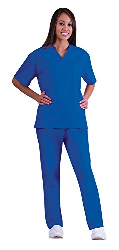 Medical Scrubs Und Uniformen (Women's Scrub Set - Medical Scrub Top and Pant, True Royal, XXXX-Large)