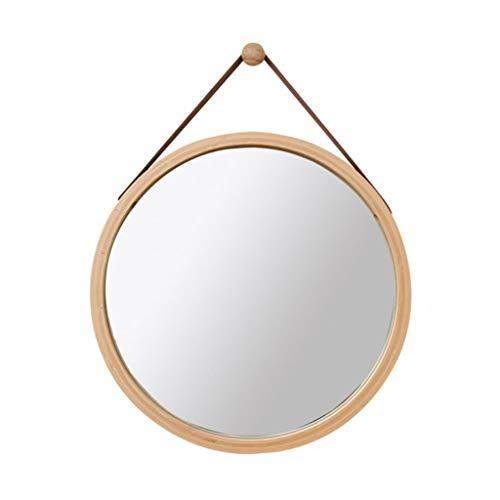 Wandmontierte Badezimmer-Runde Bambus-Holzspiegel | Runde an der Wand befestigte Schminkspiegel Lanyard | Circle Vanity Makeup und Rasierspiegel Bambus