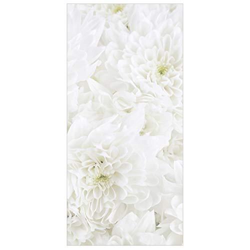 Raumteiler Dahlien Blumenmeer weiß 250x120cm inkl. transparenter Halterung
