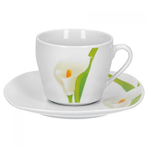 Van Well 2-tlg. Kaffeetassen-Set Calla, kleine Tasse 180 ml + Untertasse, weißer Blütenkelch,...