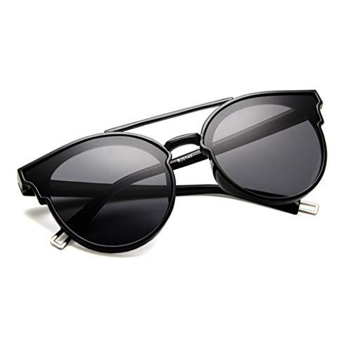 FILTERQ Runde Sonnenbrillen für Männer und Damen für Vintage-Doppelbrücken-Sonnenbrillen für Outdoor-Bike-Driving - Angeln - 100% UV-Schutz,Black