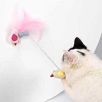 Duolemi Cat Bird Jouet Jouer Plume Teaser Mur Sucker fenêtre Jouet pour Chat