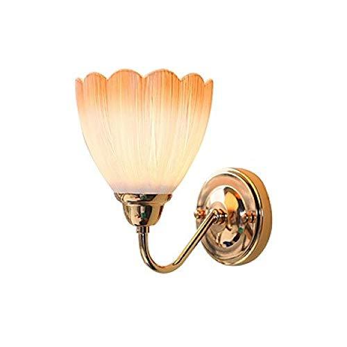 HJIUY 1-Licht Wandleuchte Blume Glasschirm Gold Finish Metall Wandleuchte Schlafzimmer Wohnzimmer Korridor Flur Wandbeleuchtung@220-240V_Orange -