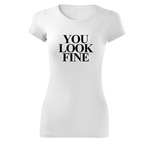 Damen you look fine Shirt - schwarz & weiß - Fashion T-Shirt mit Motiv - Neu XS - XL Weiß