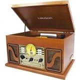 Lauson Plattenspieler Bluetooth | USB-Stick Digitalisier Vinyl-to-MP3 | Schallplattenspieler mit eingebauten Stereo Lautsprechern | CD-Player | Radio | 33, 45 und 78 RPM | CL606 | Holz