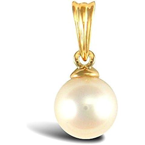 Jewelco Londra 9K oro Akoya perla luna piena ciondolo 6 millimetri