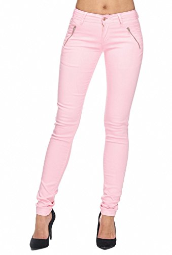 Damen Jeans Hose Röhre Treggings Skinny Fit D1943,Rosa,34 / XS (Stretch-jeans Rosa)