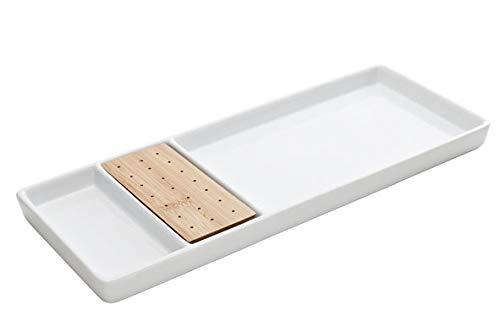 COSY & TRENDY C11091175 Plat apéro 3 compartiments+porte pique en bois, 30,8X12,5 cm