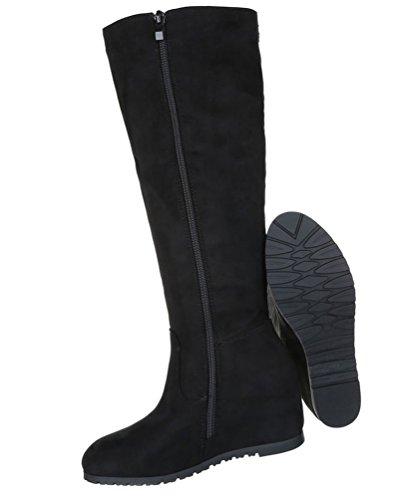 Damen Stiefel Schuhe Keilstiefel Boots Zipped Schwarz Hellbraun Rot 36 37 38 39 40 41 Schwarz