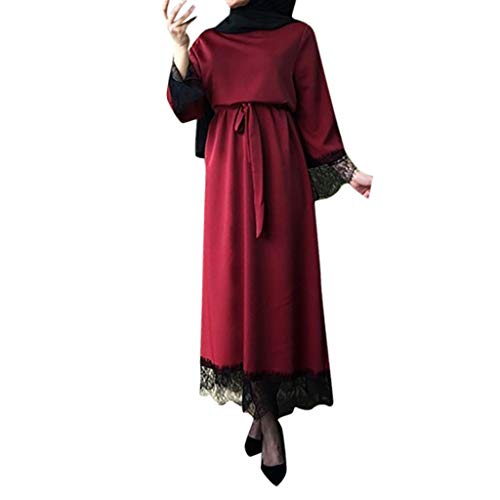 Kostüm Dubai - WUDUBE Mode Frauen Muslimische Robe, Dubai Ramadan Kaftan Marokkanischen Moslemisches Kostüm Abaya Islamische Kleidung Chiffon Langarm