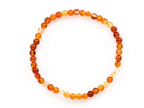Haoda - Orange weißes Armband aus dem natürlichen Edelstein Karneol mit 4 mm Kugeln auf elastischem Nylonfaden aufgezogen - (Jupiter Kostüm Planet)