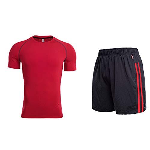QJKai Kurzärmlige Trainingsbekleidung eignet Sich für Herren, die schnell trocknende Sportswear-Trainingskleidung für Zweiteiler