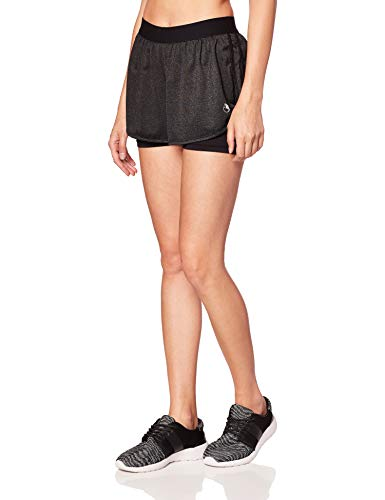 icyzone Damen Kurze Sport Hose Running Gym Workout Shorts 2 in 1 (Black Heather,S)