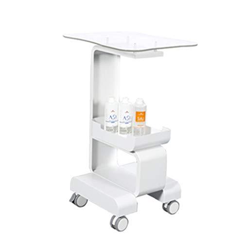 Salon Trolleys Ausstattung Schönheitssalon Styling Sockel mit Tray, Medical Rollwagen, Mobil Trolley - 150kg - Weiß - 47x37x76cm