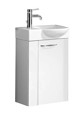 FACKELMANN SCENO Gäste WC Set rechts 3 Teile/Keramik Waschbecken/Waschbeckenunterschrank mit 1 Tür/Bad Armatur/Soft-Close/Türanschlag rechts/Korpus: Weiß/Front: Weiß/Breite: 45 cm