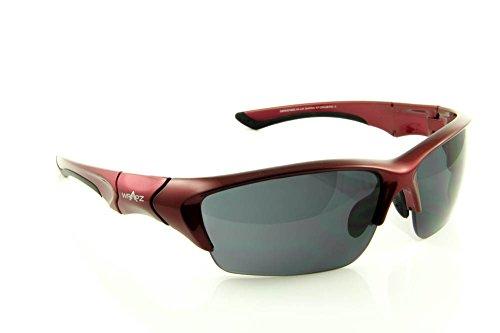 WrApz Stormbird-Sport-Sonnenbrille TR90 Flex Smoke Rot mit UV400-Gläser, inkl. Reinigungstuch)