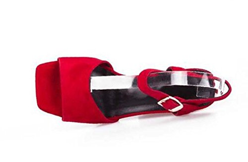 Beauqueen Pumps Sandalen Sommer Mädchen Frauen Einfache Quadrat-Toe Low Heels Gürtelschnalle Vintage Casual Party Schuhe Europa Standard Größe 34-39 Red