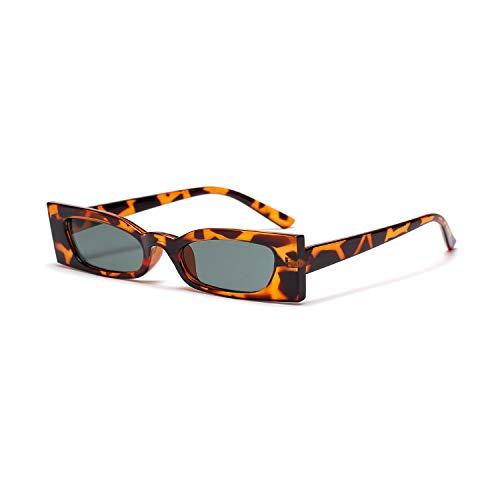 Eqerlian Sonnenbrillen, kleine Sonnenbrille mit quadratischem Gestell, Hipster-Brille,Leoparddarkgreen