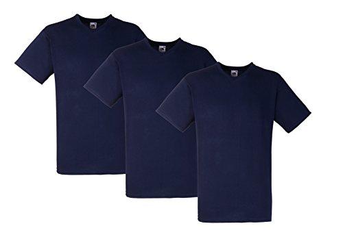 Fruit of the Loom Herren T-Shirt V-Neck-Tee, 3er Pack Mehrfarbig (Multicoloured 99)