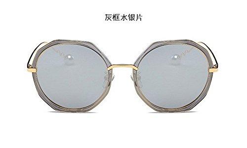 JUNHONGZHANG Polarisierte Sonnenbrillen Fashion Sonnenbrille Unregelmäßigen Runde Gläser Dünnes Gesicht Kröten, Grauer Rahmen Quecksilber