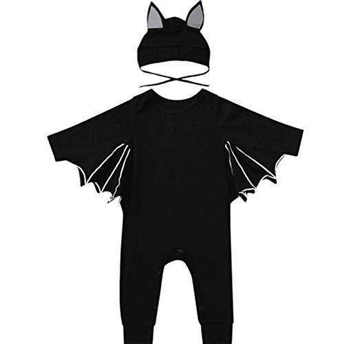 Miyanuby Kleinkind Baby Jungen Mädchen Halloween Cosplay Kostüm Fledermaus Stil Strampler Kleidung Set mit - Baby Fledermaus Kostüm Kleinkind