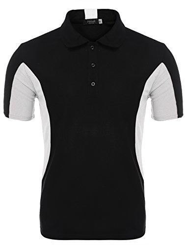 Hasuit Herren Poloshirt In Blockfarben Polohemd Slim Fit Weiß
