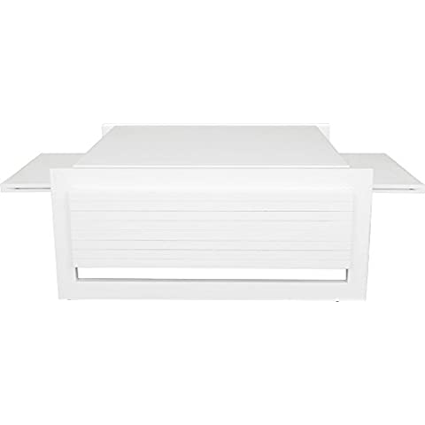 Tavolino rettangolare frassino massiccio laccato bianco lucido vassoio