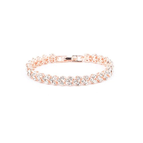 Plated Zircon Crystal Bracelet Charm Bangle Fashion Jewelry (rose golden) 1pc