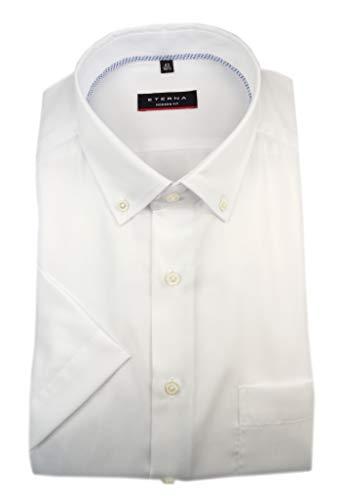eterna Herren Kurzarm Business Hemd Modern Fit Oxford BD Modern-Button-Down-Kragen Unifarben 8932.C08U (Weiß, W45, Länge Kurzarm) Button-down-band