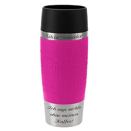 Emsa Thermobecher Travel Mug Himbeere 360 ml mit persönlicher Rund-Gravur gelasert Edelstahl Soft-Touch-Manschette pink Quick Express...