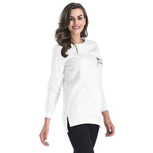 Zolimx SAMT Pullover Frauen-Herbst Taschen-Katze druckte O-Ausschnitt Sweatshirt-Lange Langarm Pullover Tops Bluse