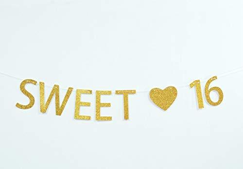 Firefairy Sweet 16 Gold Glitzer Banner zum 16. Geburtstag - Sweet Sixteen Dekorationen, Partygeschenke, Geschenke, Themen und Ideen - Happy 16th Birthday Dekorationen