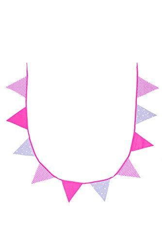 BB & Co Girlande Wimpelkette aus Baumwolle rosa/weiß/grau