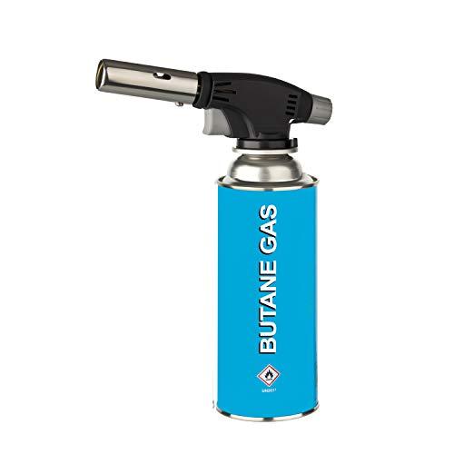 HEIMWERT Gaskartuschen Unkrautbrenner mit Piezo-Zündung   Arbeitstemperatur 1300°C   Abflammgerät für Butangas Ventilkartuschen   System MSF-1A (Lötlampe + 1 Kartusche á 227g)