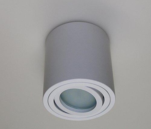 Leuchtstoff-licht-halter (Aufbauleuchte Aufbaustrahler Unterbaustrahler Unterbauleuchte / Helitec-1121 mit GU10 Fassung / weiß Aufbauspot Spot Deckenleuchte Deckenspot Möbelleuchte Schrankleuchte weiss)