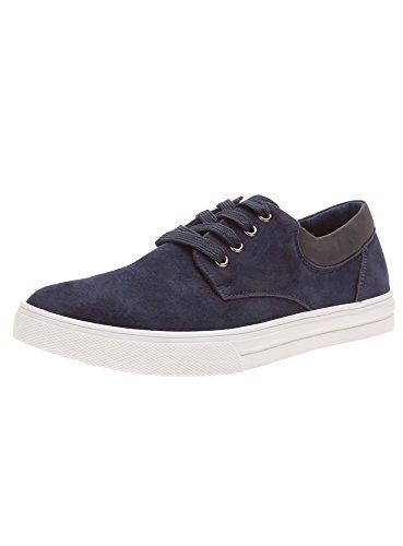 oodji Ultra Homme Chaussures en Suédine avec Empiècements en Cuir Synthétique, Bleu, 43 EU / 9 UK