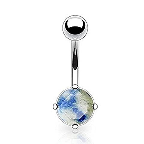 1 x Lapis Lazuli Semi Precious Prong Set Stone Non Dangle Belly Bar Piercing 10mm Thickness 1.6mm Length Surgical Steel