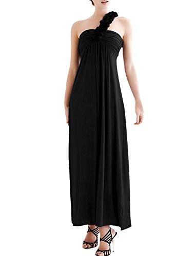 Femme avec épaule dénudée Détails Flouncing Robe d'été mi-mollet Noir - Noir