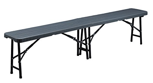 CON:P Klappbare Bank, Rattan-Optik, Kunststoff, anthrazit, 183 x 28 x 43 cm, B46504