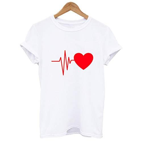 ZahuihuiM Mode D'été Nouvelle Chemise pour Les Femmes Concise Lâche À Manches Courtes Coeur Imprimer T-Shirt Casual O-Cou Tops
