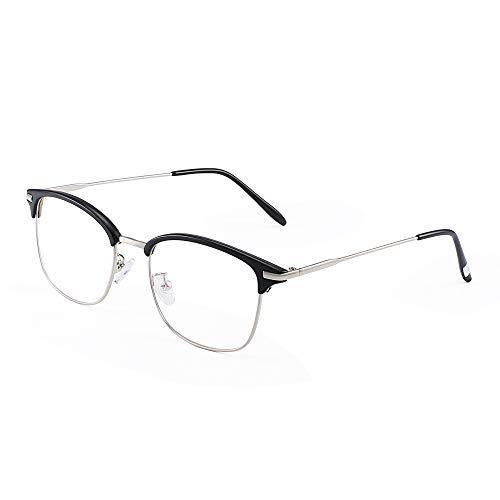 JM Vintage Halb-Randlos RX-fähig Brillen Metall Optische Gläser Rahmen für Herren Schwarz