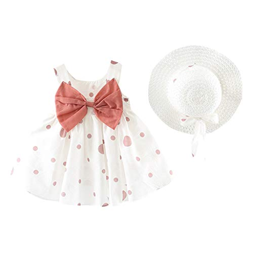 DQANIU- ❤️❤️Mädchen Kleid, 2 STÜCK Baby Mädchen Kinder Sommer Ärmellos Oansatz Print Floral Bogen Prinzessin Kleid, Kleid + Hut (0M-24M) -