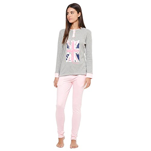 LCW00009 Pigiama donna Lee Cooper mod. English Grey caldo cotone a manica lunga. MEDIA WAVE store ® (S)