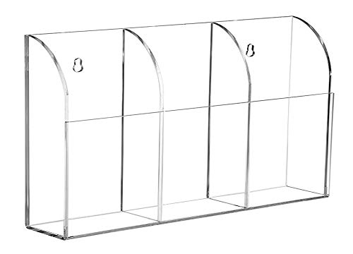 Organizador de almacenamiento de 3 compartimentos, de acrílico transparente, para montar en...
