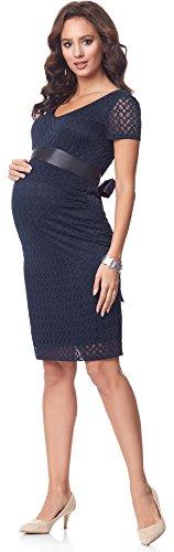 Be Mammy Damen Umstandskleid festlich aus Spitze kurze Ärmel Maternity Schwangerschaftskleid BE20-162 Navy2