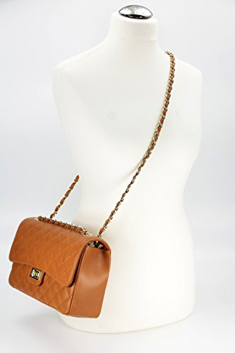 "BELLI ital. Echt Nappa Leder Abendtasche Damentasche ""Paris"" Umhängetasche gesteppt - Farbauswahl - 27x17x10 cm (B x H x T) Cognac"