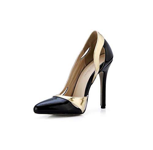 GHFJDO Damen Pumps Schuhe, Sommer Pointed Sweet Sandalen Stiletto Ferse Hochzeit Party & Abend,Black,39EU Black Patent Peep Toe Stiletto Pumps