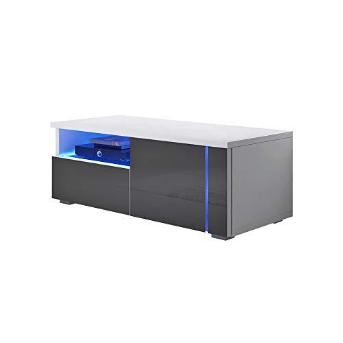 Selsey Oxy Single - Meuble TV avec éclairage LED 100cm , Gris / Blanc