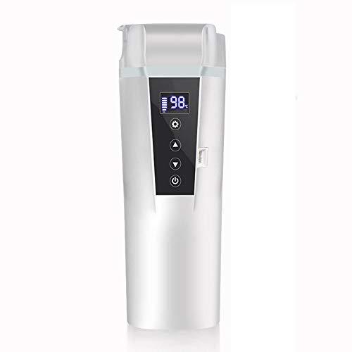 Car Thermos, 400 ml Elektronisches Intelligent Heizung Wasser, Isolierung Temperaturkontrolle, 304 Edelstahl-Reise-Cup,Weiß