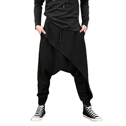 Dasongff Chinohose Herren Jogginghose Baggy Haremshose Männer Pluderhose Jogger Hose Freizeithosen Sweatpants Trainingshose Hip Hop Rap Hipster Stil Straight Streetwear Feldhose -